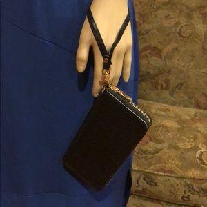 Black Faux Reptile Wristlet or Wallet-Black
